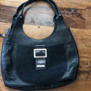 Puntotres Black Leather and Pony Hair Hobo